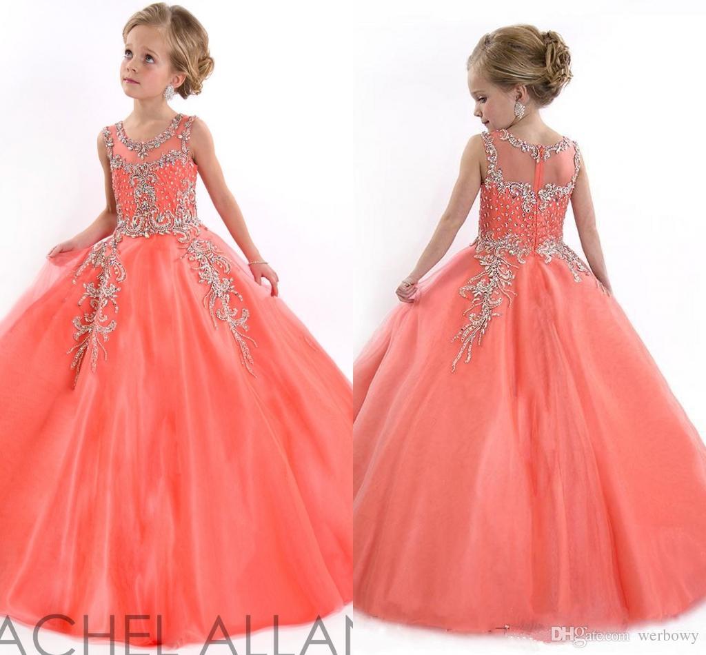 3ff7688ab33 Compre 2019 Niñas Vestidos De Concurso Para Adolescentes Princesa Rachel  Allan Jewel Cristal Rebordear Blanco Coral Niños Flor Vestidos De  Cumpleaños ...