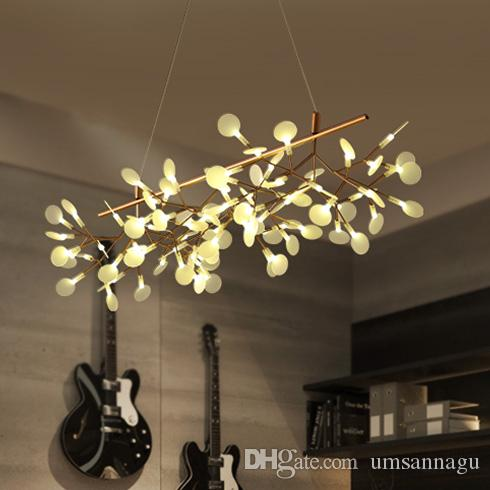 Led Modern Pendant Lamps Firefly Branch Lights Fixture Home Indoor Lighting European Dining Room Bed Hanging Drop Light 110cm Globe