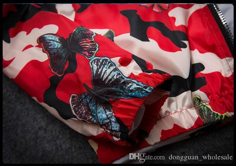 Hochwertige Herren Sommer Camo Windbreaker Jacke dünne männliche Camouflage Windbreaker Mäntel 2017 Frühling mit Kapuze Schmetterling Windbreaker