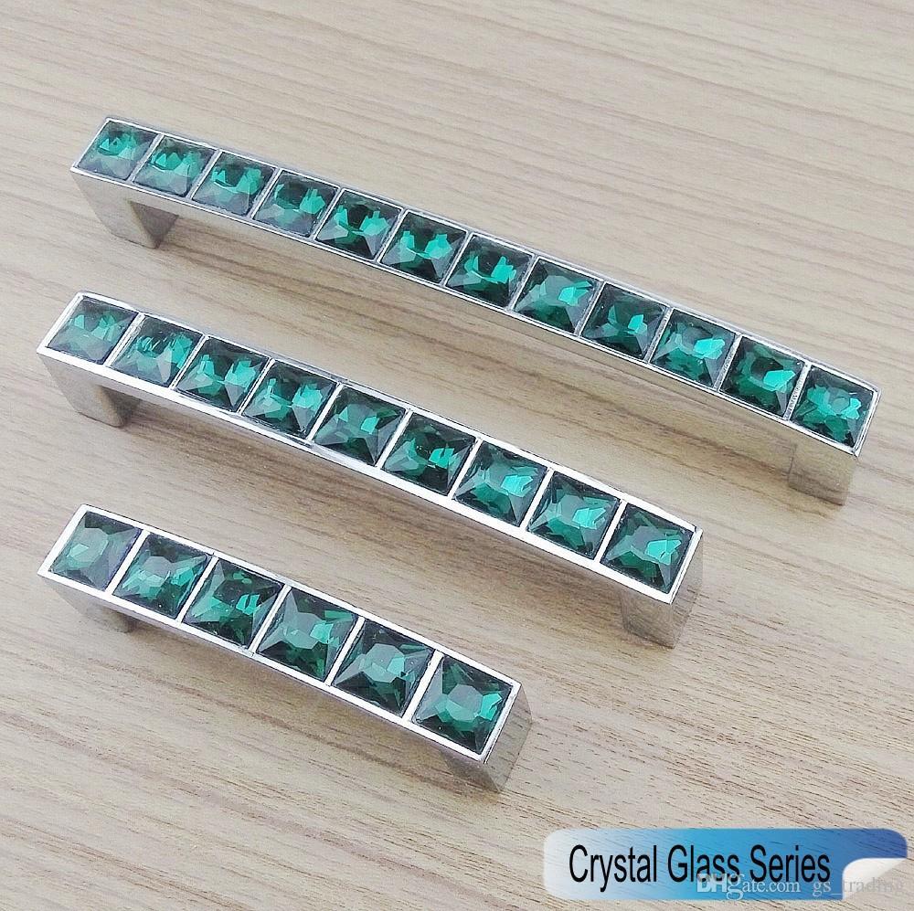 Crystal Glass Series Diamond Peacock Green Furniture Handle Door ...