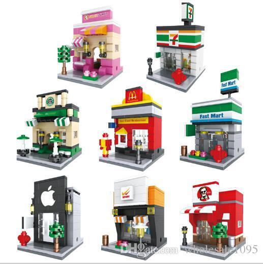 Tamaño 10 * 7 * 6 Bloques City Mini Street View Scene Miniatura Figura Cafetería Minorista Tienda Arquitecturas Modelos Juguete de construcción YH529