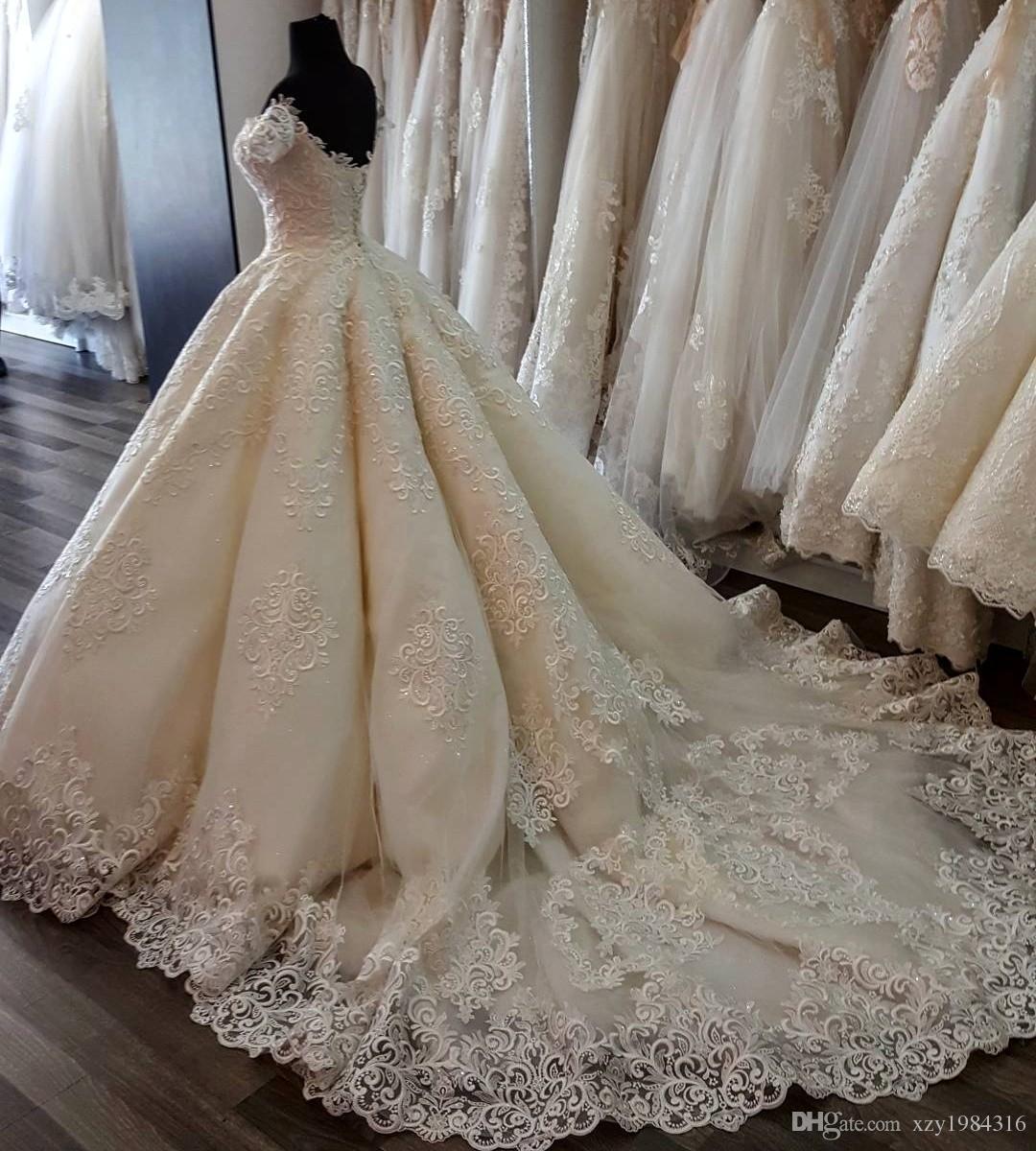 Elegant Short Sleeves Wedding Dress With Appliques Sweetheart Open Back Tulle Long Wedding Gowns 2017 Custom Made Glamorous Bridal Dresses
