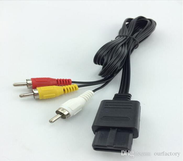 180cm AV TV RCA Video Cord Cable For Game cube/for SNES GameCube/for Nintendo for N64 64 Wholesale Store 500ps