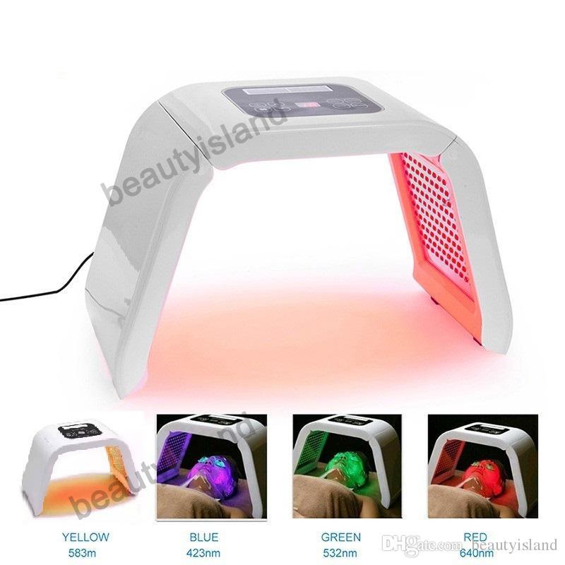 전문 PDT LED 얼굴 치료 레드 블루 그린 노란색 빛 4 색 LED 얼굴 마스크 PDT LED 피부 회춘 여드름 치료
