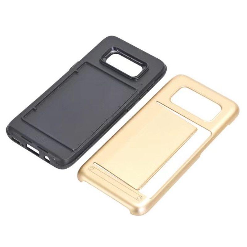Hybrid Hard Armor Ranura para tarjeta de crédito Cubierta trasera para Samsung Galaxy S3 S4 S5 S6 S7 edge / S8 Plus Silicone + PC Shell protector