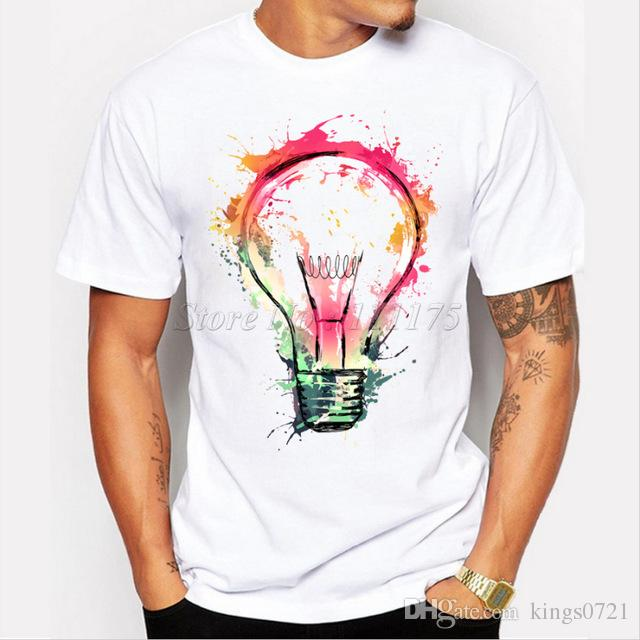 2017 New Color Painted Bulb Design Men'S T Shirt Cool Fashion Tops ...