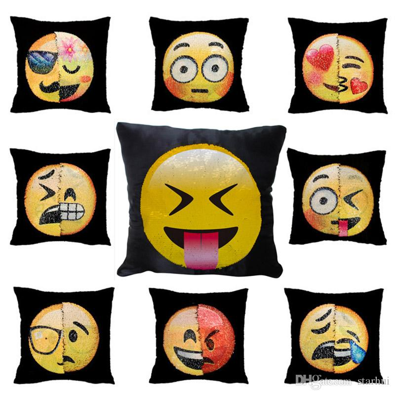Doppel Farbe Emoji Pailletten Kissen Fall Mode Gesichtsausdruck Kissenbezüge Wohnkultur Sofa Auto Kissen Helle Abdeckungen Decor Geschenke WX-P12
