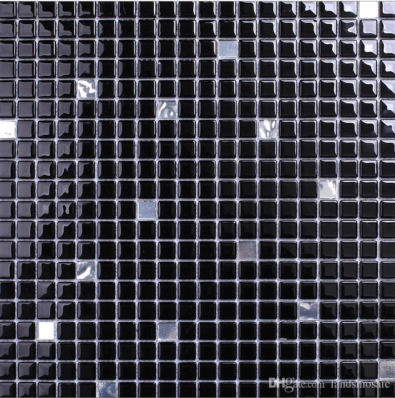 Compre Azulejos De Mosaico De Vidrio Negro, Piso De Mosaico De Venta ...