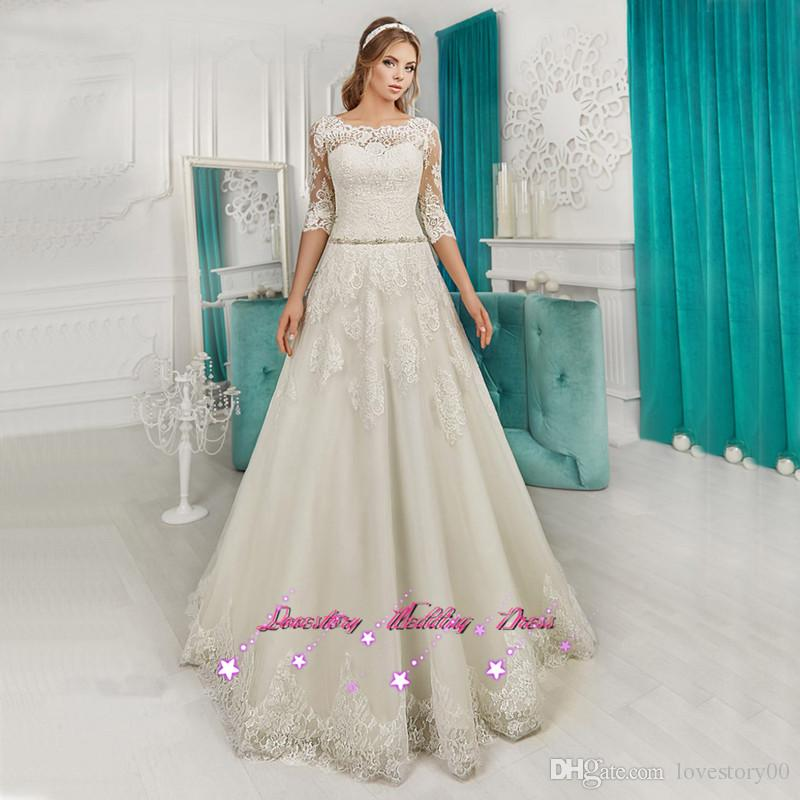 Country Western Wedding Dresses Lace  Bridal Dress With Jacket Wedding Gowns Half Sleeve Vestido De Noiva Princesa Plus Size Cheap Wedding Dresses