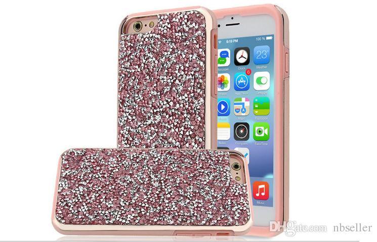 2 dans 1 cas de paillettes strass diamant luxe bling pierres chrome dos PC couvrant les cas pour iphone X 8 7 5 6 6s, plus de samsung note8