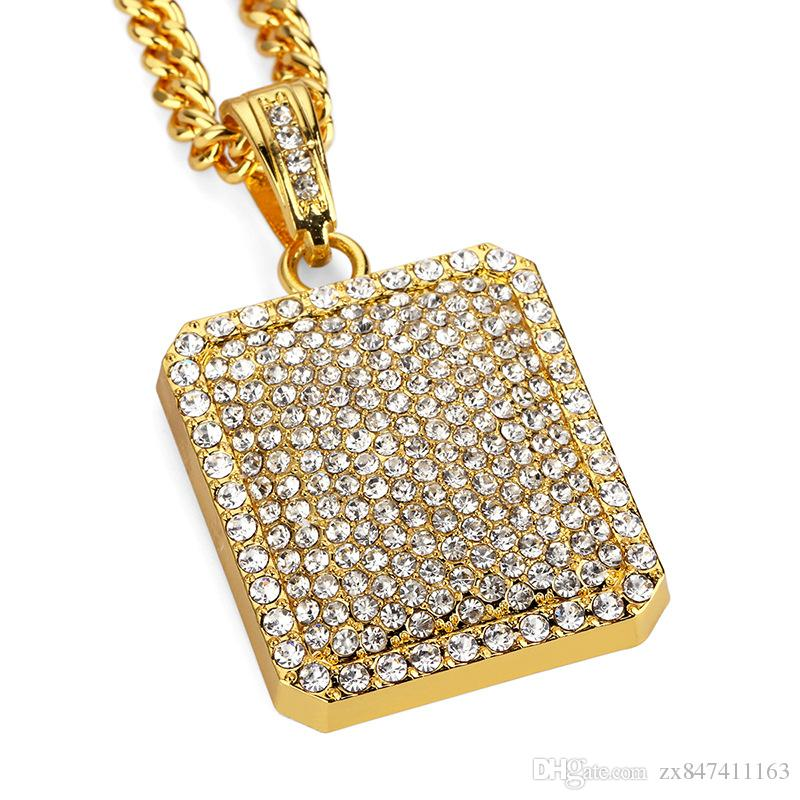 Mens collane del pendente di Hip Hop collane gioielli di design pieno di strass w / 29