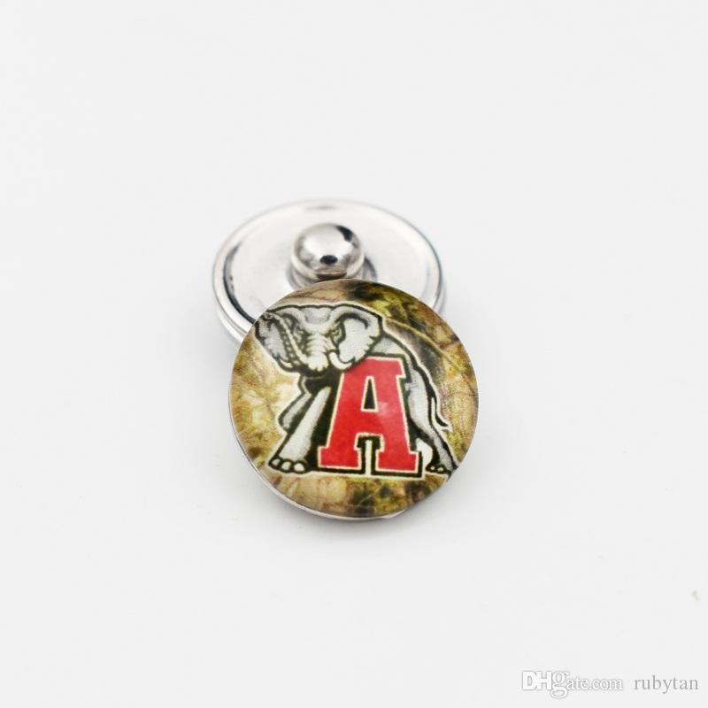 Alabama Elephant Snap Buttons 18MM Round Glass College Sports Team Snap Charms High Quality Snap Accessories For Necklace Bracelet Earring