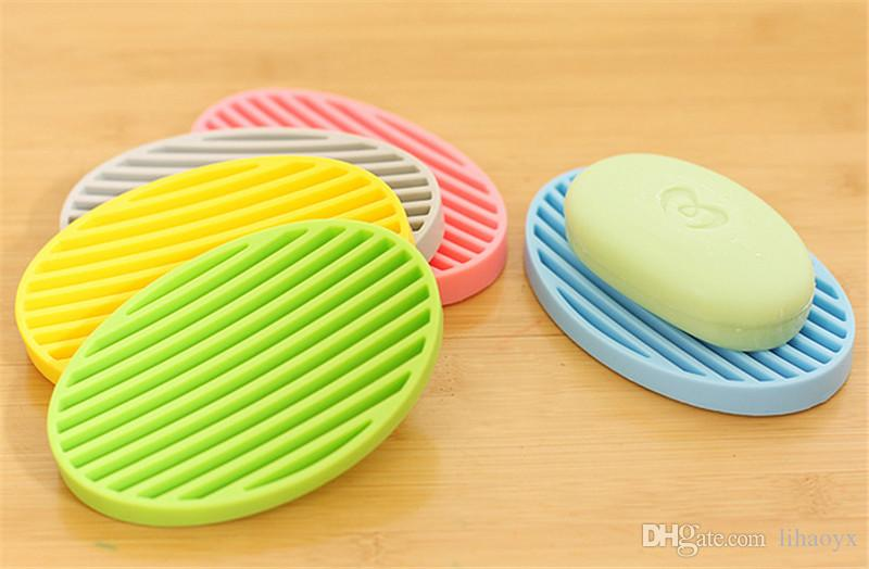 candy color silicone Home travel Soap Dishes soap holder soap box with Cover bathroom set b743