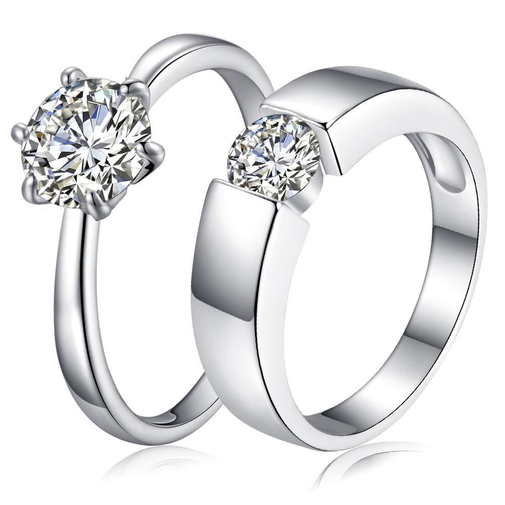 2017 Luxo CZ Anéis De Casamento 925 sterling silver nupcial Cubic Zirconia casal anéis de diamante Para menwomen s engagement Moda Jóias