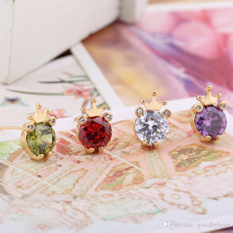 Big Zircon Crown Frog Gold Plated Piercing Animal Stud Earrings Party Costume Jewelry Bijoux for Women Best Gift