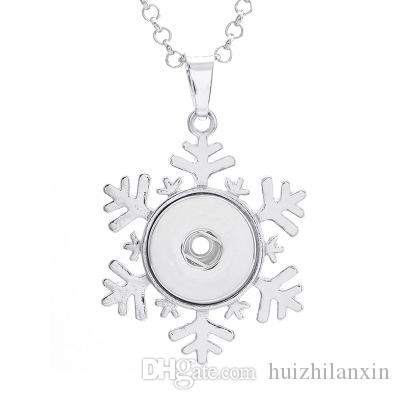 Silver Snowflake Button Snaps Necklace Pendant For 18MM Ginger Snap Jewelry