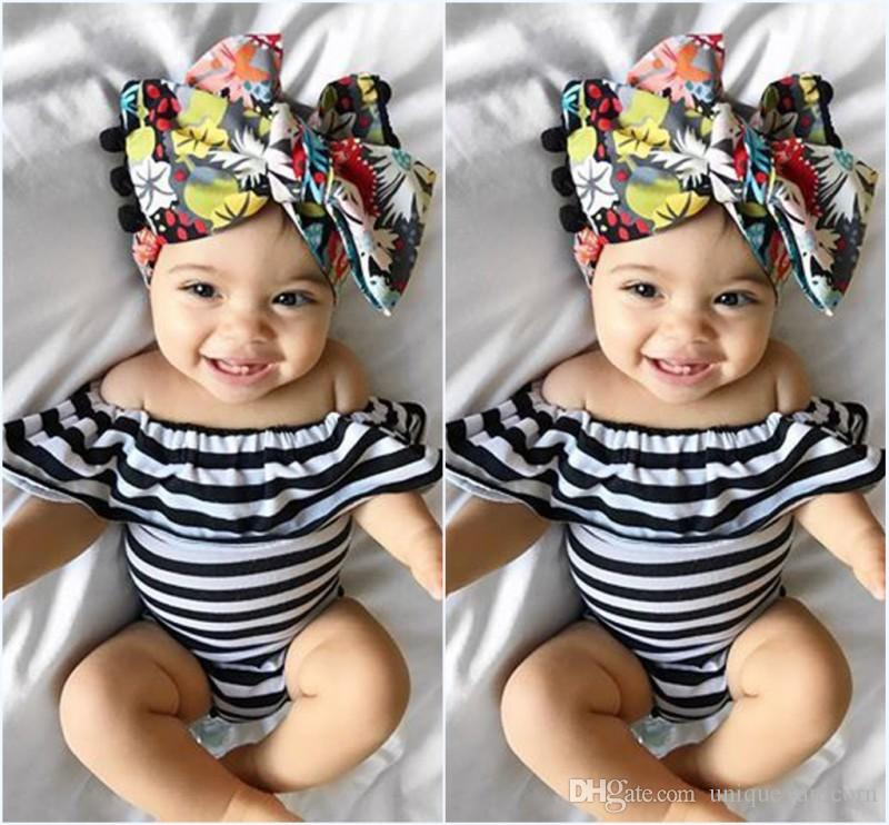 830e0f4ed97 2019 2017 Summer Ins Baby Girl White Black Stripe Rompers Infant Toddlers  Off Shoulder One Piece Jumpsuit Newborn Cotton Climb Bodysuit From  Unique unicorn