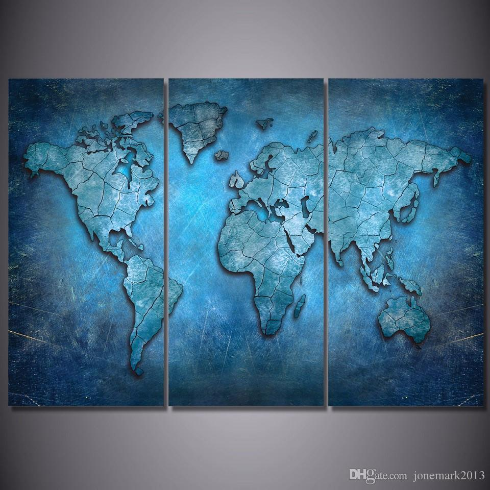 Framed HD Printed Blue Abstract World Map Picture Wall Art Canvas Print Decor Poster Canvas Oil Painting
