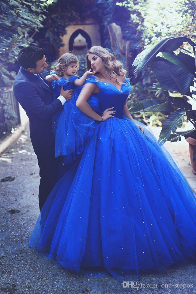 Royal Blue Floor Lent Lunghezza Tulle Abiti da ballo Bambine Bambine Abiti PageAnt Off Spalla Pulvello Blowed Flower Girl Gown Kids Princess Dress BA3927