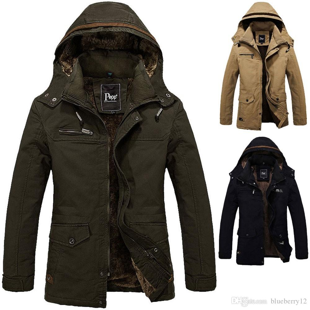 Men'S Winter Warm Coat Boys Jacket Cotton Fleece Hooded Jacket Men ...
