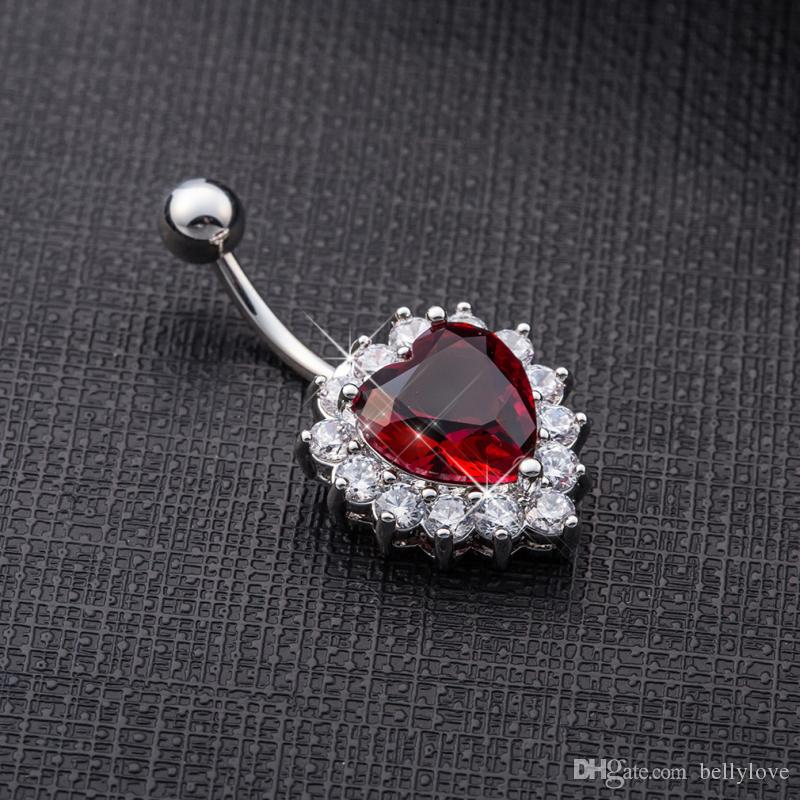 18K White Gold Plated Clear Crystal Cluster Red/White Cubic Zirconia CZ Heart Navel Ring Belly Button Ring Fashion Body Jewelry for Women