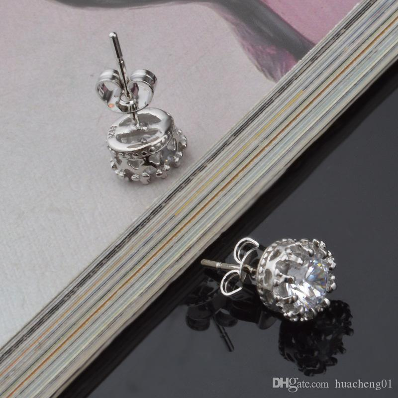 925 Sterling Silver CZ Diamond Crown stud earrings Fashion Jewelry beautiful wedding /engagement gift Gold Silver Crown Earrings