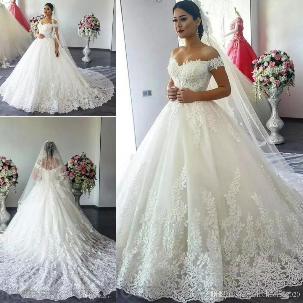 170498dd027 Discount 2017 Cheap Modest Saudi Arabia Cap Sleeves A Line Wedding Dresses  Off Shoulder Full Lace Appliques Plus Size Court Train Formal Bridal Gowns  ...