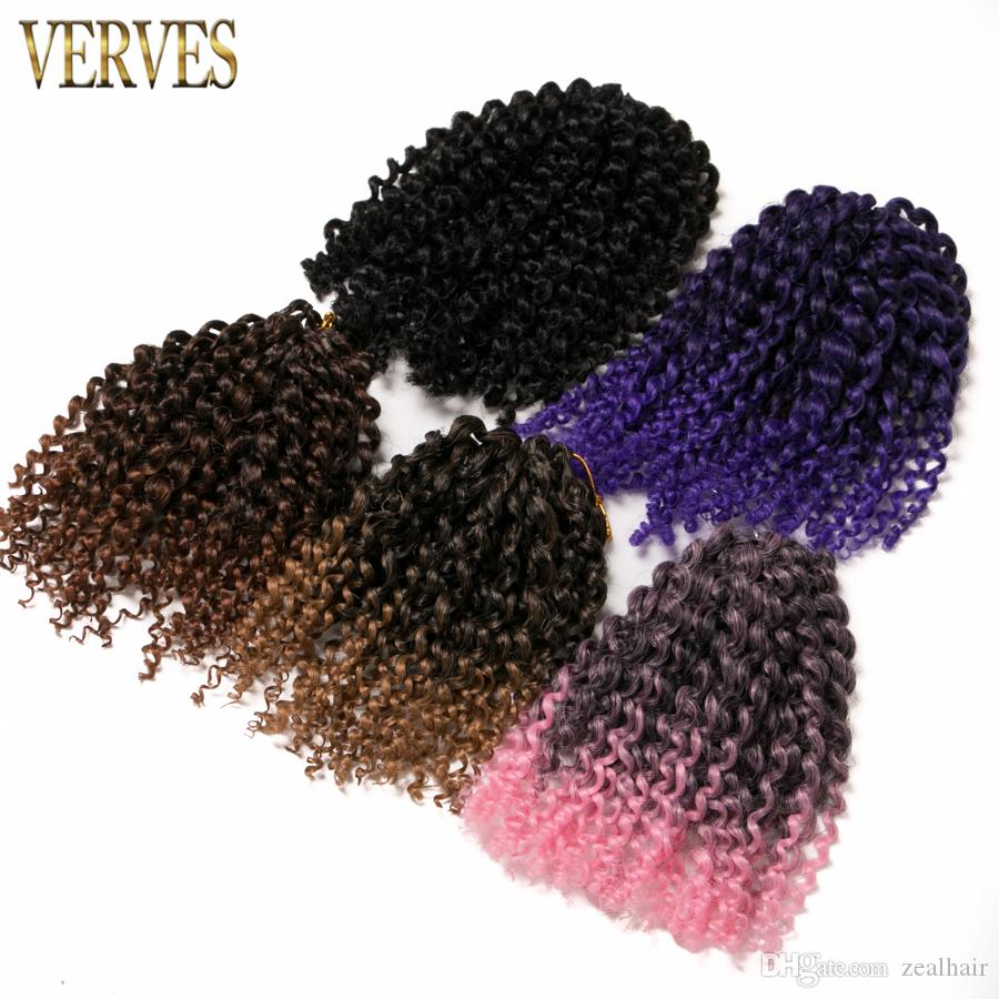 synthetic Kinky Twist 3 piece/set 8 inch kinky style ombre braiding hair curly Crochet Hair Extensions