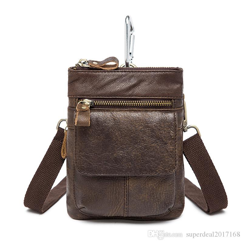 7 Inches Leather Wallet Waxy Vintage Men's Wallet Coffee Iphone Camera Single small Shoulder Bag Cross Body Men's Waist Bag