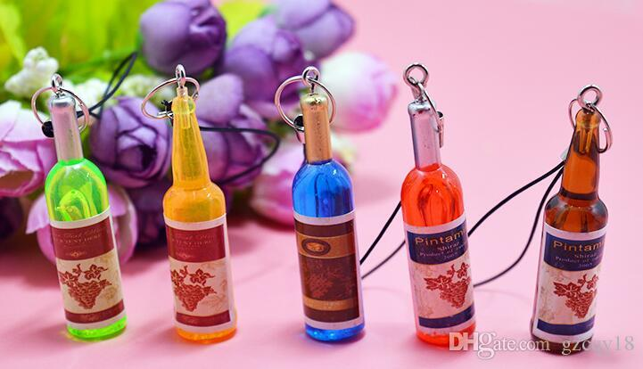 Small Wine Bottle Wine Pendant for Cell Phone Case Cover Key Chain Key Ring Beer Bottle Creative Korea Jewelry Gifts Pendants Gifts