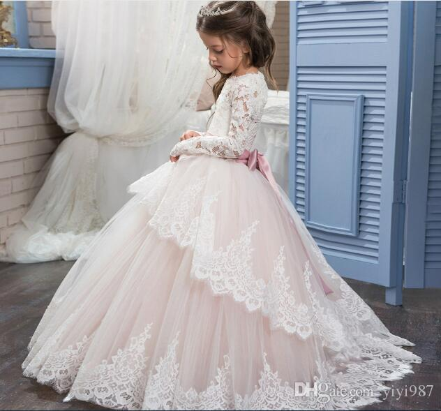 471c9130a2 Real Pictures Ivory Long Sleeves Wedding Flower Girl s Dresses 2018 Ball Gown  Tutu Kids Communion Dresses for Girls Pageant Vintage Baby Dress Long Sleeve  ...
