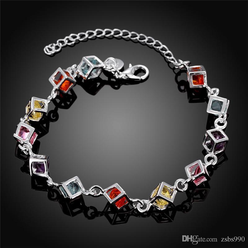 100 new high quality 8 inch long 925 silver inlaid stone bracelet fashion girl jewelry