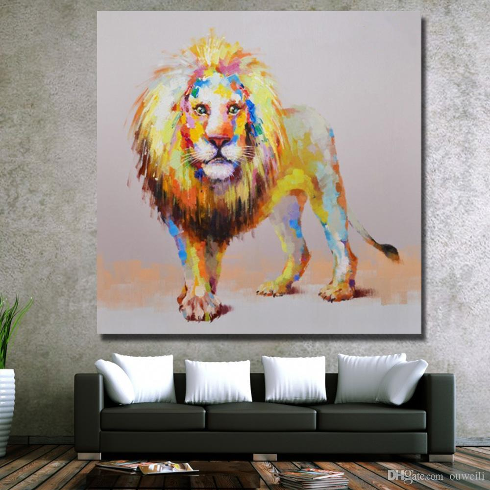 top quality hand painted cartoon wild animal lion oil painting mass production canvas art