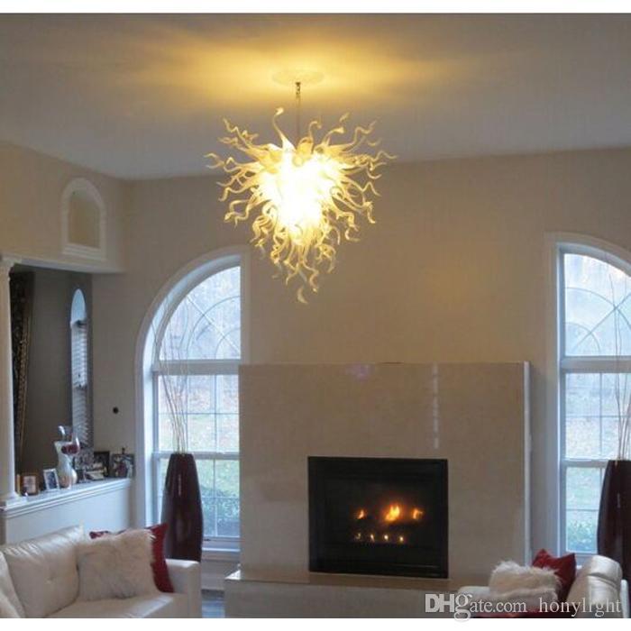 Nouveau style blanc couleur LED en verre soufflé à la bouche Lustre pendentif Lampes moderne de mariage décoratifs pour la maison Lustre en cristal clair
