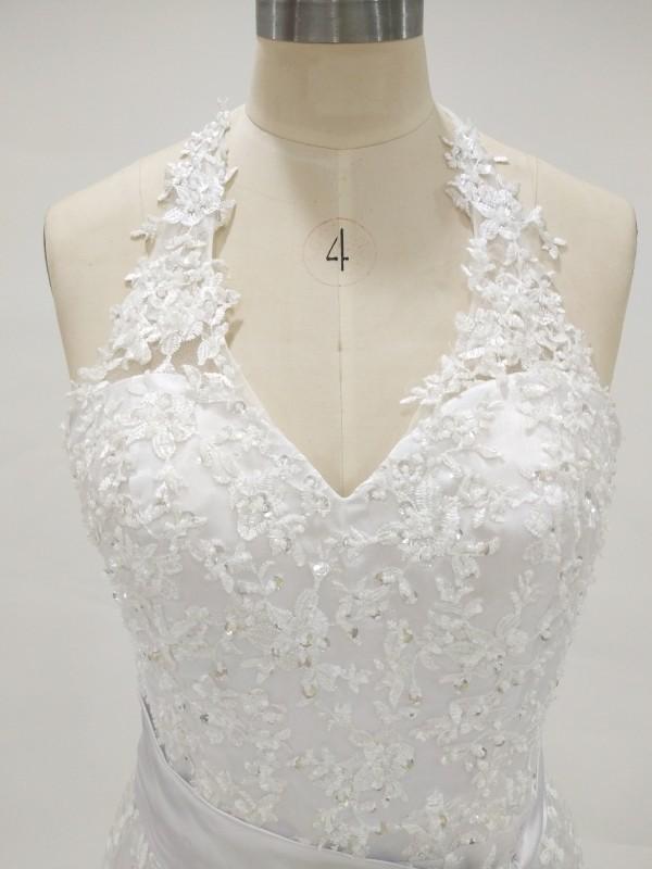 Real Halter Spitze Strand Brautkleid Sleeveless Perlen Appliques Mermaid Brautkleider Brautkleider Sweep Zug abnehmbare Sash Custom Made