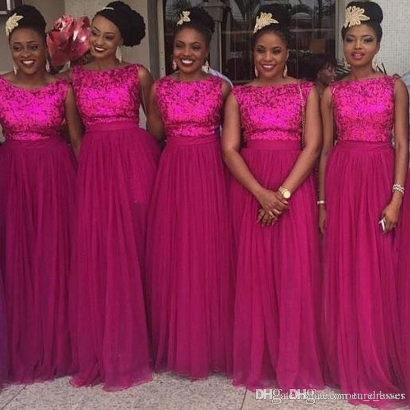 Sparkly Rose Red 2018 Sheath Formal Bridesmaid Dresses 2017 Sleeveless Long Tulle Wedding Party Gowns Custom Made Plus Size