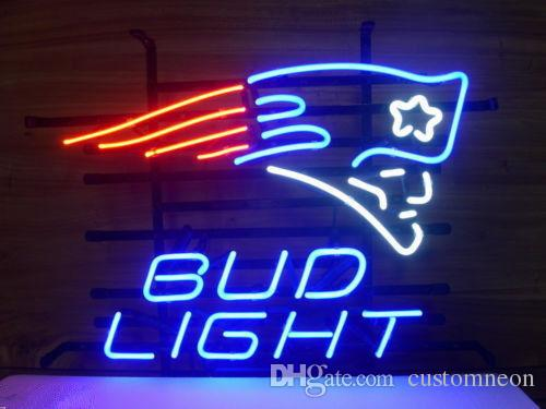 "17""x14"" Bud Light England PATRIOTS Handcrafted Real Glass Neon Sign Beer Sports Bar Club Light Home Decor"