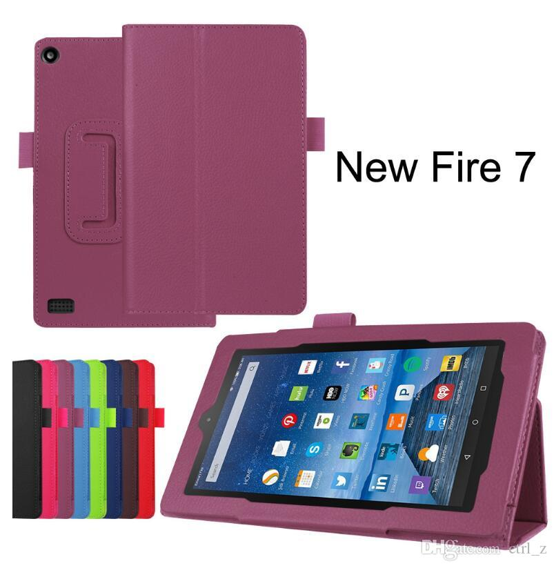 For New Kindle Fire 7 2017 Litchi Folio Stand PU Cover Case 10 colors By DHL Fedex
