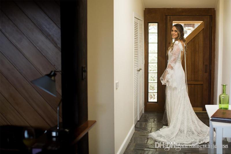 Primavera Boêmio Lace Bainha Vestidos De Casamento Com Decote Em V Mangas Compridas Abertas de Volta Capela Trem Custom Made Vestidos De Noiva Para O Jardim Do País