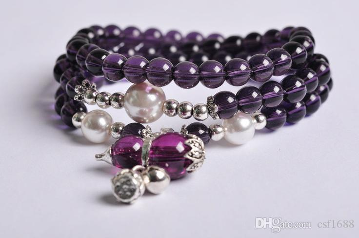 Fashion boutique natural amethyst bracelet hand string Lucky transport  gourd bells multi-layer beaded fashion female jewelry