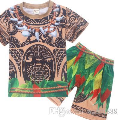 eff27f035224c Acheter Été Enfants Vêtements Set Bébé Maui Cosplay T Shirts Sport Costume  Pour Enfants Garçons Cadeau De Noël T Shirt Top T Shirt + Pantalon De   11.16 Du ...