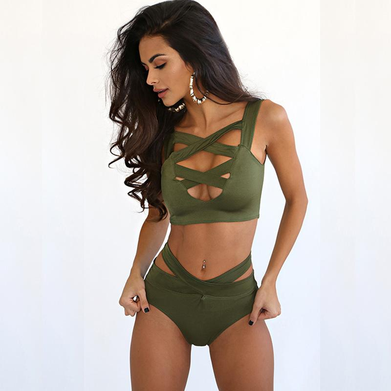 0247891593f 2019 Sexy Hollow Out Halter Neck Straps Women Bikini Two Piece Set ...