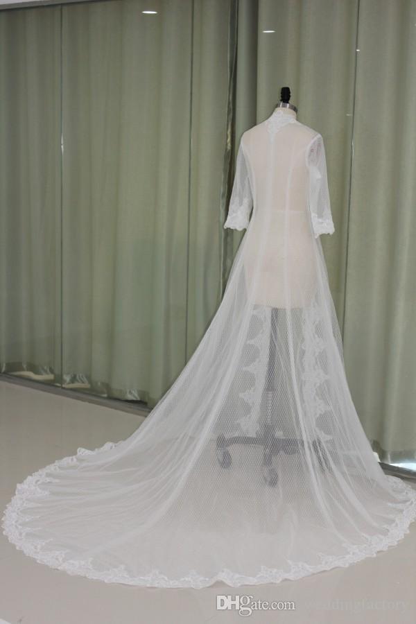 Echtes Bild Hochzeits-Kape-Frauen-Wrap-Mäntel Jacken Halbhülse Tüll Weiß Elfenbein Hochzeits-Kapseln Spitzenapplikationen