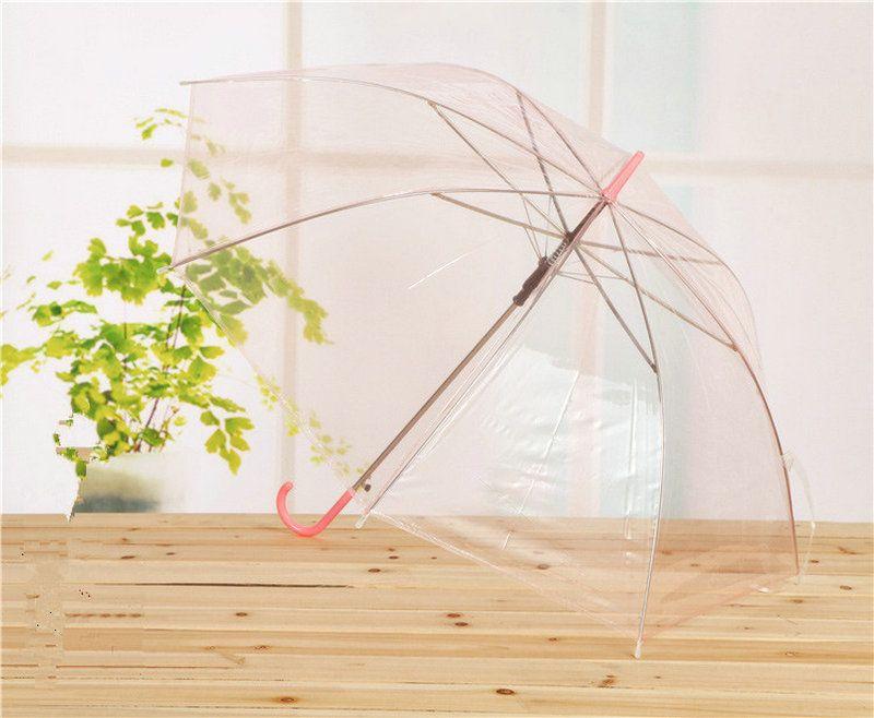 Transparent Umbrellas Clear PVC Umbrellas Long Handle Umbrella Rainproof Sun Umbrellas Beach Wedding Colorful Umbrella