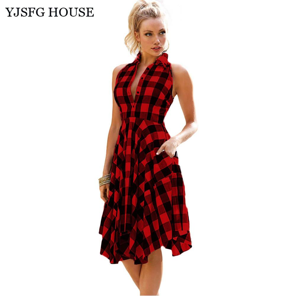 Yjsfg House Casual Vintage Women Sleeveless Tunic Shirt Dress 2017 ...