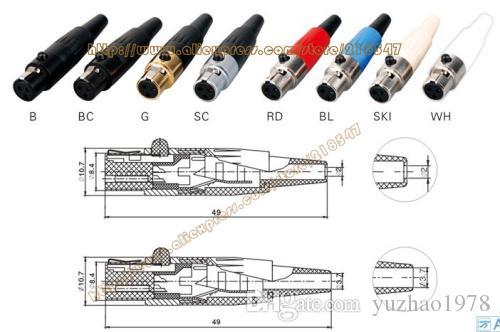 Alta qualidade 50 pçs / lote 3 pin Fêmea Mini XLR Preto De Áudio Mic conector TA3F TA3FB