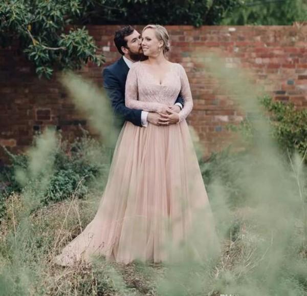 Vintage Country Plus Size Brautkleider Eine Linie V-Ausschnitt Perlen Spitze Illusion Lange Ärmel Brautkleider Tüll Rock Custom Made gemacht