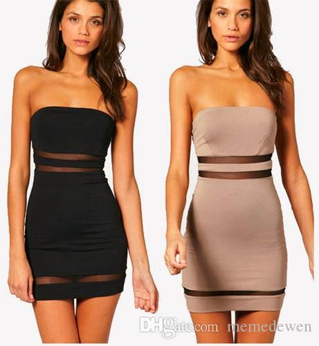 8cfb0c990d 2017 New Style Summer Sexy Dress Wrapped Chest Shoulder Stitching Package  Hip Dress Gauze Bandage Club Dresses Vestidoes XZ-019 2017 New Style Summer  Sexy ...
