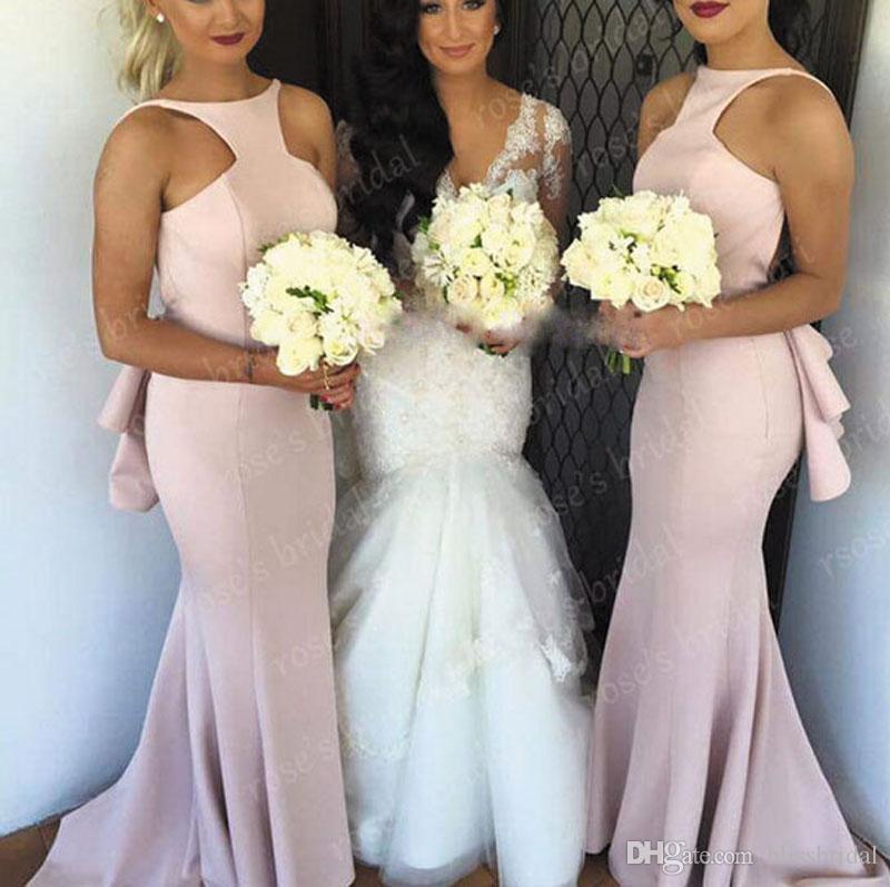 2017 neueste rosa lange brautjungfer kleider backless style cutouts sexy mantel prom kleider mit peplum feger train jaid von ehren kleid kleid