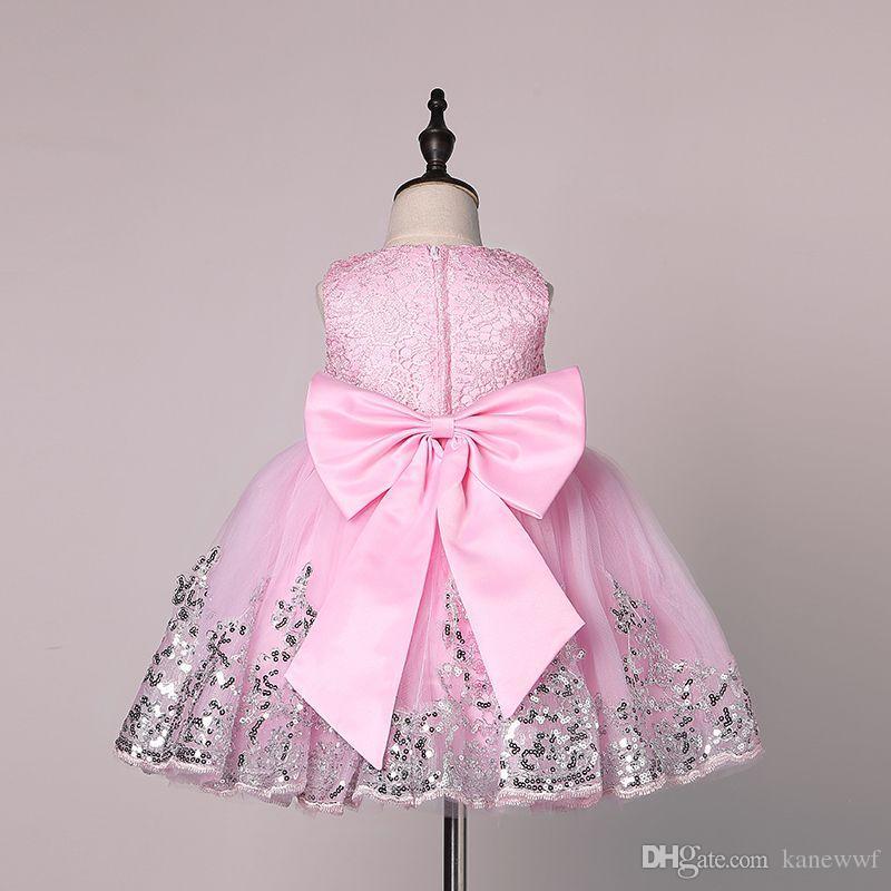 2017 Bahar Çiçek Kız Elbise Sequins Dantel Bebek Kız Doğum Günü Partisi Noel Communion Elbise Çocuk Kız Parti Elbiseler